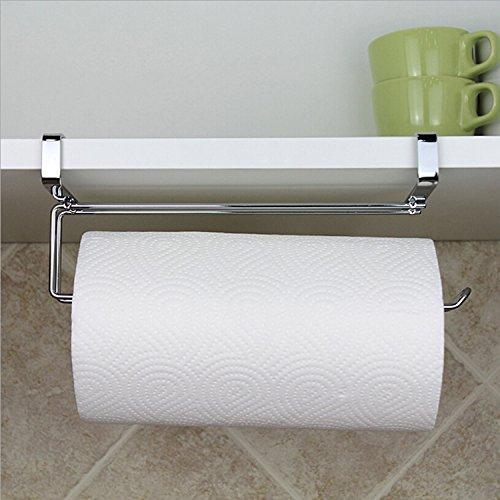 Edelstahl Papier Handtuchhalter Halter, Küchenrolle Halter Tissue Aufhänger Organizer Rack ohne Bohren für Küche unter Unterschrank über Tür (Papier-handtuch-aufhänger)