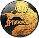 2017 Island Nation of Tuvalu, Spiderman, 1 oz (31.1g) .999 Pure Silver, 24 Quilates Gold Relief...