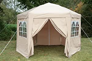 Airwave 3.5mtr Pop Up Gazebo HEXAGONAL Biege Fully Waterproof with Six Sides and CarryBag