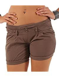malito Damen Shorts in Unifarben | lässige kurze Hose | Bermuda für den Strand | Pants - Hotpants 6089