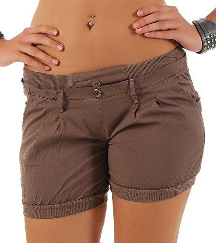 Malito Damen Shorts in Unifarben | lässige Kurze Hose | Bermuda für den Strand | Pants - Hotpants 6089 (Fango, M)