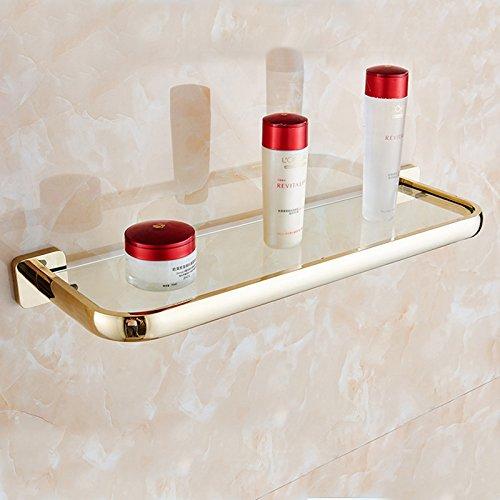 Moderne Style simple des produits de salle de bain Accessoires de salle de bain en cuivre Doré Art de bain étagère de salle de bain en verre trempé plateaux