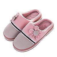 Fantastic-Journey Striped Flower Winter Warm Cotton Plush Slippers Men Flat Home Indoor Women Slipper Shoes