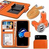 """Asus Zenfone 4 Selfie Pro ZD552KL (5.5"""") - Fall Super-Essentials Pack Clamp Frühlings-Art PU-Leder-Mappe + Dual Einschuss Charger + Micro-USB-1 Meter flache Datenkabel - Orange"""