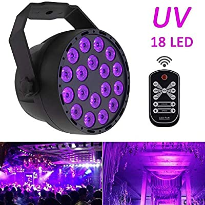 Black light UV LED Stage Light Par 7 Modes Lights 18 x 3W LED Par Lamp DMX 512 DJ Spotlight Sound Activated Mini Projector with IR Remote for Parties Stage KTV Bar Club Dsico Lighting