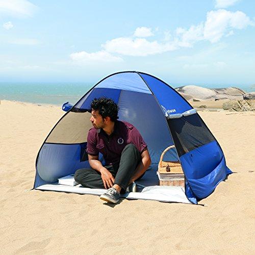 WolfWise UV Schutz Strandmuschel, Pop-Up Familien Sonnenschutz Strandzelt, Selbstaufbauend Automatisch Strand Sonnenschirm Regenschirm, Tragbar Dunkelblau