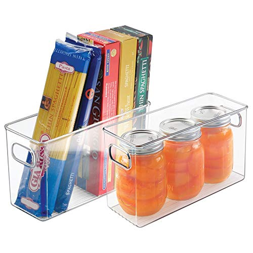 mDesign 2er-Set Aufbewahrungsbox - ideal zur Küchen Ablage, im Küchenschrank oder als Kühlschrankbox - Kunststoffbox mit praktischen Griffen - auch für den Gefrierschrank geeignet - transparent (Kunststoff-lebensmittel-lagerung-kisten)