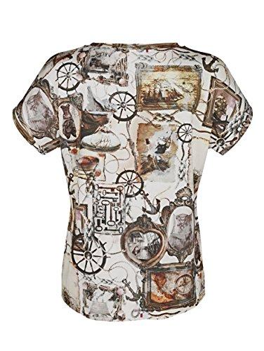 Damen Druckshirt mit nostalgischen Motiven by MONA ecru-oliv