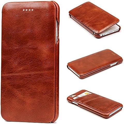 URCOVER® Custodia Portafoglio Apple iPhone 6 / 6s | Protettiva Flip Cover Wallet Case Elegante con Guscio Rigido Fodera di Pelle in Marrone | Business Raffinata Microfibra Antigraffio