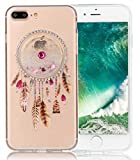 Nnopbeclik Apple Iphone 7 Plus Silikon H�lle Transparent, Drucken Blume Campanula 3D Flie�ende Fl�ssigkeit Bling Diamont Muster Handytasche, Ultra Slim TPU Weich Durchsichtig Schutzh�lle Etui Gl�nzend Glitzer Strass Kristall Sto�d�mpfend Clear Case Schutz Handy H�lle Crystal Tasche Schale Bumper Pour Apple Iphone 7 Plus  medium image
