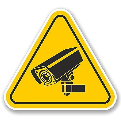 2x Caméra de vidéosurveillance d'avertissement Panneau en vinyle autocollant Shop Appareil photo pour ordinateur portable Boîte à outils Cool # 5389 - 10cm Wide x 9cm Tall