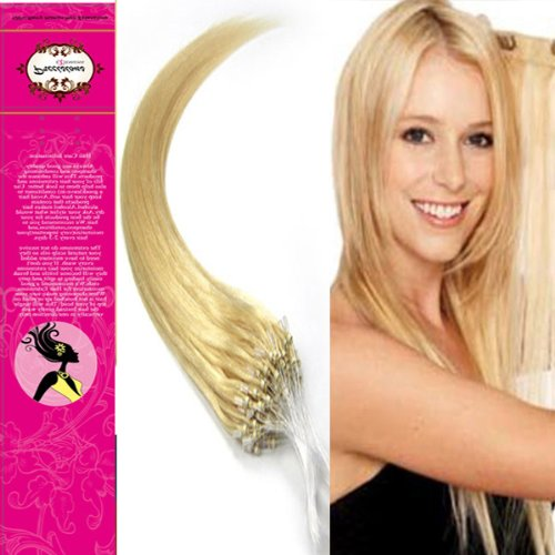 Style 22'' Easy Loops Micro Rings Beads Tipped 100% Real Human Hair Extensions Straight Hair Color 613 Light Blonde Beauty Design Salon by COOL-BEAUTY