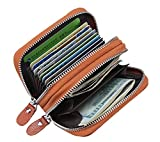 #5: DAHSHA RFID Blocking Leather Credit/Debit Zipper Card Holder Wallet Purse with 10 Slot and Gift Box (Brown)
