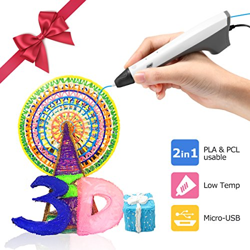 3d Drucker Stift Set, Weiß AILINK Stift, DIY Geschenk für Kinder Erwachsene, umweltfreundliches Filament, Intelligent Temperature Technology