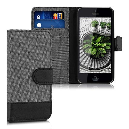 kwmobile Apple iPhone 5C Hülle - Kunstleder Wallet Case für Apple iPhone 5C mit Kartenfächern und Stand (5c Wallet Case)