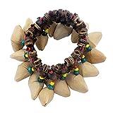 SODIAL Bracelet Sonnette de coquille de noix fait a la main pour Djembe Tambour africain Conga Accessoires de percussion