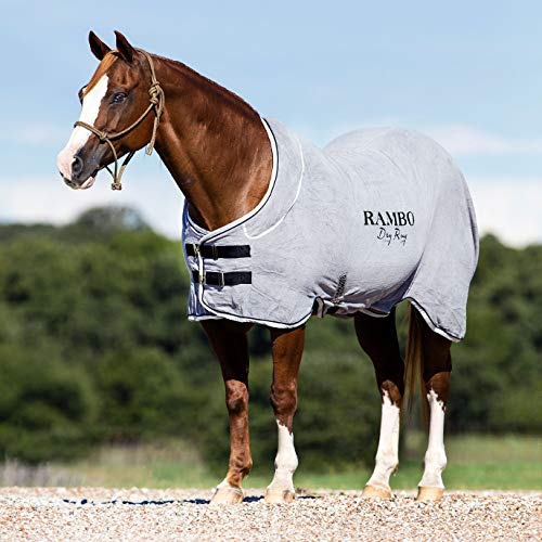 Horseware Rambo Dry Rug Abschwitzdecke mit Halsteil grau S - 2