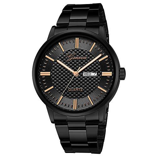 Mitlfuny Unisex Männer Frauen Mode Armbanduhren 2019,Luxuxquarz-Sport-Militär-Edelstahl-Dial-Lederarmband-Armbanduhr