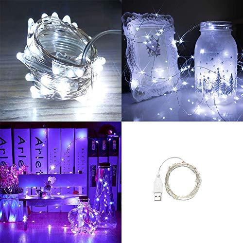 hterketten USB 10 Micro LED Cool White Indoor Outdoor Weihnachten Schnur-Licht-USB Powered 1M / 3.3ft Mond Lichter Wasserdicht Sparks Firefly Licht für Schlafzimmer Haus-Geburtsta ()