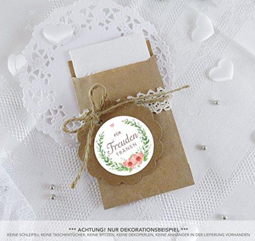 SET GROß: 48 Freudentränen Sticker + 48 braune Flachbeutel - Kraftpapier - 63 x 93 mm für Freudentränen Taschentuch Verpackungen • Aufkleber in GRÜN APRICOT mit Kranz und Blüten • 4cm, matt