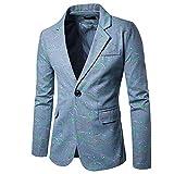 Herren Business Hochzeit Smoking Ein Knopf Anzugjacke Herrenmode Blazer Sakko Classic Mantel Bunt Druck Hochzeitsanzug Jungs (Color : Hellblau, Size : 2XL)