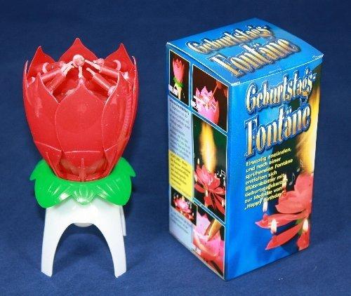Musik-Blumenkerze, Kerze H: 10 cm Happy Birthday Geburtstag