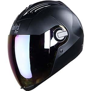 Steelbird Helmet with IR Blue and ONE EXTRA TRANSPARENT VISOR and STEELBIRD CABLE LOCK FREE, 600mm (SBA-2, Black)