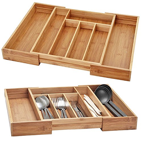 URBN CHEF Extendable Bamboo Cutlery Tray (Large)