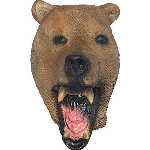 Rwdacfs Masken für Erwachsene,Niedliche Bär Tier Maske Hood Halloween Braunbär Cartoon Latex Kopfschmuck