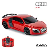 CMJ RC Cars Audi R8 GT, Produit Officiel Télécommande Voiture pour Enfants avec Fonctionne Lumières, Radiocommandée Garçons Filles Jouets 1:24 Modèle, 2.4Ghz Course 10 + Ensemble (Rouge)