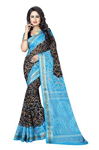 Concepta Women's Art Silk Bandhani Saree (Blue_Free Size)