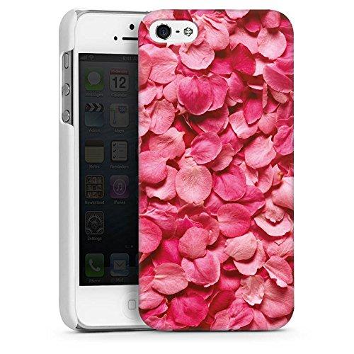 Apple iPhone 5 Housse Étui Protection Coque Feuilles de roses Pétales Rose vif CasDur blanc