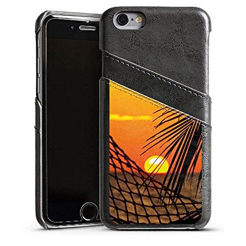 Apple iPhone 5s Housse Étui Protection Coque Coucher de soleil Plage Hamac Étui en cuir gris