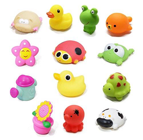 elzeug Cartoon Tier Schwimmen Wasser Squeeze Sprühen Strand Bad Spielzeug für Kinder Jungen Mädchen Badewanne Spaß Baby Dusche Zeit (13 Pcs) (Teddybär-baby-dusche)