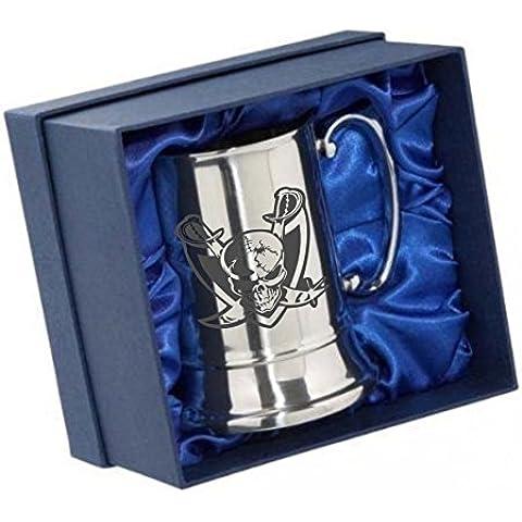 Incisione personalizzata in acciaio inox boccale birra tazza in confezione regalo Skull 02e il tuo messaggio incisione