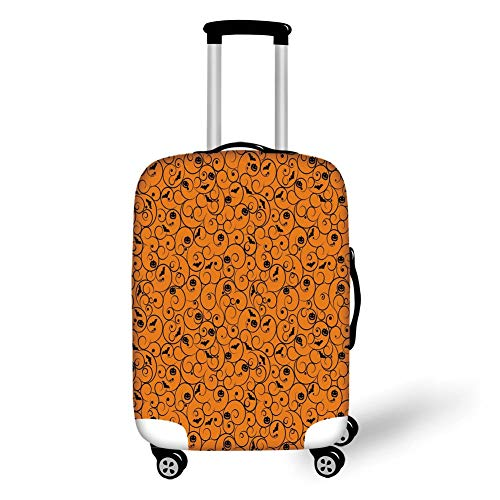 Travel Luggage Cover Suitcase Protector,Halloween,Floral Swirls with Dots Little Bats Open Wings and Pumpkins Seasonal Pattern,Orange Black,for TravelXL 29.9x39.7Inch Floral Swiss Dot