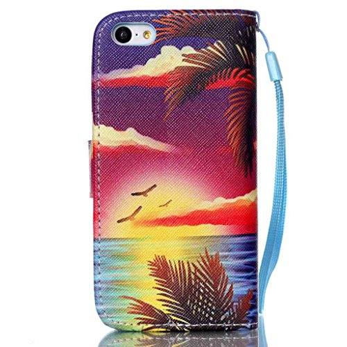 für Apple iPhone 5C Lederhülle, Yihya Dünne PU Leder Hülle Wallet Flip Case Tasche mit Stand Halter, Kreditkarten Steckplätze Klappbar Etui Cover Schutzhülle + Stift - Muster Rote Regentropfen Hawaii