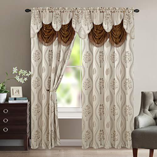 Elegante Komfort Luxuriöse schöne Vorhang Panel Set mit angebracht Querbehang und Backing 137,2x 213,4cm (Set von 2) beige - Komfort ägyptische