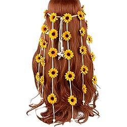 YFairy - Diadema de Flor, Bohemia, Coloreada, imitación de Margarita, Diadema de Girasol, para Mujer/niña, borlas de Cuentas, Tejido, Corona de Trenza, Diadema de Novia Amarillo Amarillo