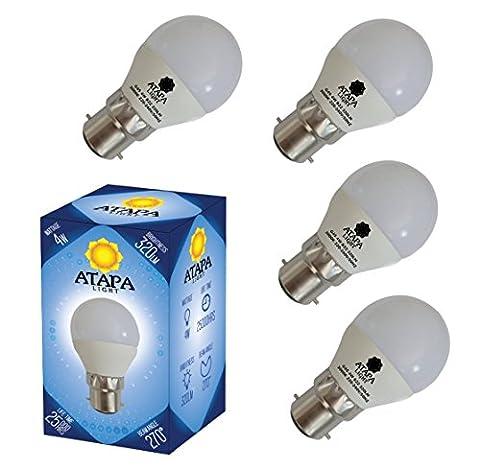 ATAPA 4x Sphérique Dépolie LED G45 Ampoules 4W B22, 320 lm, avec un angle de faisceau de 270°, lumière des LED très claire et naturelle, blanc chaud 3000 K, éclairage encastré pour douche, salle de bain, cuisine, salon, véranda, jardin, bibliothèque