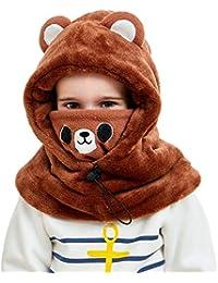 DAWNTUNG Cagoule Enfant Polaire Epais Chaud Hiver Bonnet Echarpe Cache Cou  Oreilles Cagoule de Ski Animal Déguisement Chapeau… 8d986ad71b4