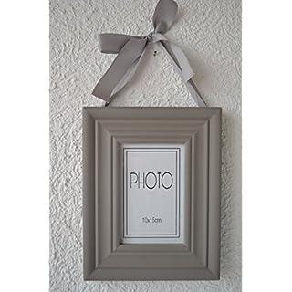 Hübscher Bilderrahmen mit außergewöhnlicher Aufhängung in Grau-Landhausstil- für Bilder 10 x 15 cm