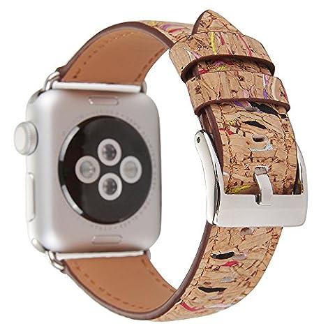 Apple Watch Lederband Ersatz Watch Band peibo-499Retro Holz Handgelenk Band Ersatz Armband 38mm oder 42mm