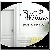 Witam Herzlich Willkommen Wandtattoo polnisch Eingang,Diele Flur Sprachen 118cm x 28cm Dekogröße + Schmetterling Wandsticker...in 21 Farben in unserem Angebot