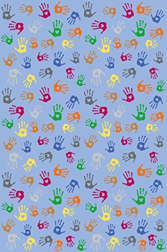 Rechteckiger Spielteppich mit bunten Handabdrücken / Material: Polyamid, Latexrücken / Maß: 300 x 200 cm / für Kinder ab 3 Jahren (Handabdrücke Teppich)