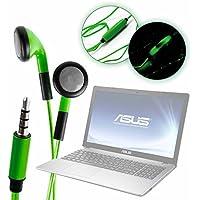 DURAGADGET Auriculares In-Ear con Luz LED Verde para Portátil Acer Nitro 5 AN515-