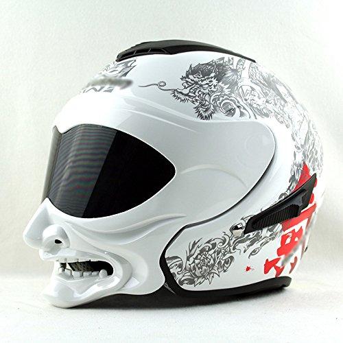 BCX Casco Xcf, In Fibra Di Vetro, Casco Moto Samurai Smorfia Personalità,B,2XL