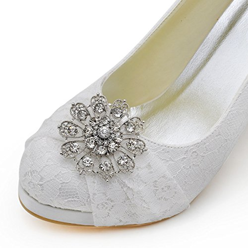 ElegantPark HC1413P bout Rond Dentelle Fleurs Boucle A Plateau Pompes Femmes Chaussures de Mariee Mariage Blanc