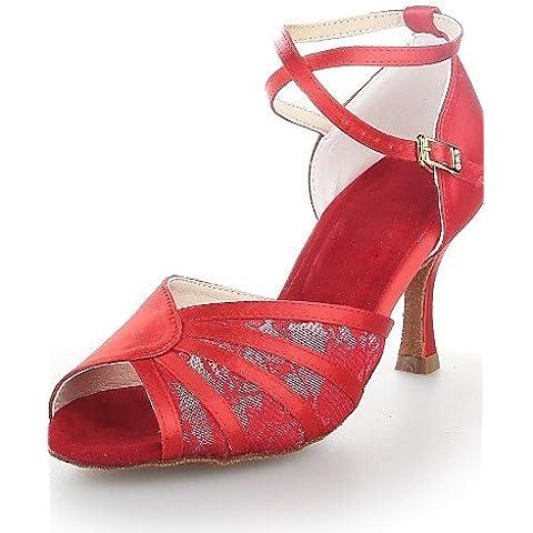 ELA- Scarpe da ballo - Non personalizzabile - Donna - Latinoamericano - Tacco a rocchetto - Satin - Nero / Rosso / Argento , black-us6 / eu36 / uk4 / cn36 , black-us6 / eu36 / uk4 / cn36
