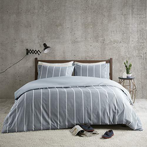 Bettwäsche 155x220cm Mikrofaser Gestreift Bettbezug für Decke 3-teilig Bettbezug & Kissenbezüge 80x80cm Geometrisch Karomuster Ideal für Schlafzimmer Mordern Stripe Eben
